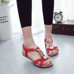 Flat Sandals Peep Toe Women Sandals Summer Classic Sandals 2019 Women Shoes Vintage Ladies Slippers red 36