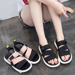 Fashion Summer Platform Sandal 2018 Flat with Solid Open Toe Women Sandals Shallow Designer Shoes black 35