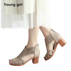 Spring Summer Ladies high heels women sandals Fashion Fish Mouth Hollow Roma Shoes beige 5