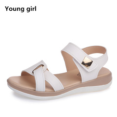 Summer Women Sandals platform heel Leather hook loop metal Soft comfortable casual sandals white 4