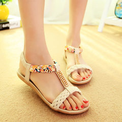 Women Sandals Summer women shoes woman Flip Flops Ladies Flat Sandals beige 5