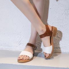 Women's Fashion Casual Mixed Toe Sandals Square Heels Beach Shoes women summer sandals women leather beige 35