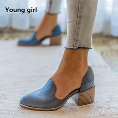 2019 Fashion Shoes Woman Pointed Toe Large Size Women Shoes for Spring Square Low Heels blue 4.5