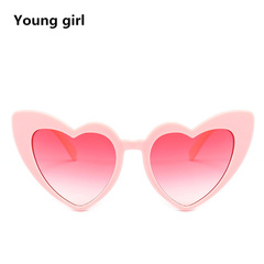 Heart Sunglasses Women brand designer Cat Eye Sun Glasses Retro Love Heart Shaped Glasses pink one