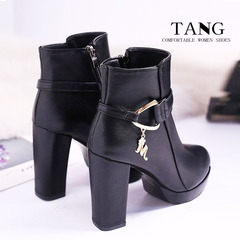 1 Pair Size 35-39 PU Buckle strap Coarse heel Platform Fashion Martin Boots  Ankle  Shoes women  045 black 35