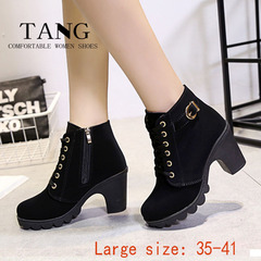 1 Pair Size 35-41 Large size Suede Coarse heel Waterproof Buckle strap Martin Ankle Boots shoes  91 black 35
