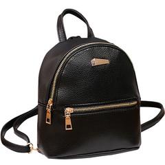 Women Mini Backpack PU Leather College Shoulder  Rucksack Ladies Girls Casual Travel Bag black one size