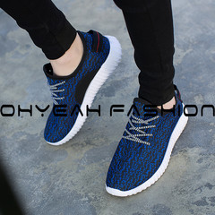 New Fashion Men Sneakers Breathable Fly Fabric Sports shoe men shoe Casual Running Shoes blue 39