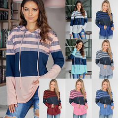 2019 autumn and winter new women's color contrast long-sleeved loose hooded large size sweater white XL