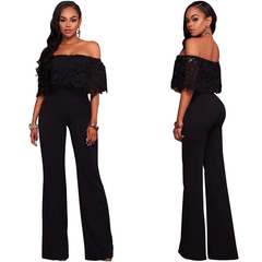 2019 Women Sexy Jumpsuit Crochet Lace Ruffles Off Shoulder Long Bodysuit Party Club Jumpsuit black s