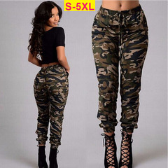 ZP Women's Trousers  Fashion Trend Camouflage High Waist Drawstring Casual Long Pants Plus Size camouflage s