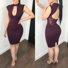 ZP Hot Women Sexy Mini Dresses Backless O-Neck Sleeveless Solid Bodycon Dress Evening Party Dress s wine red