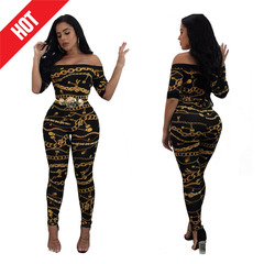 Fashion Women Summer Sexy Black Iron Chain Printing Off Shoulder Slim Fit Jumpsuits No Belt black s