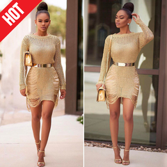 Women Knitted Hollow Out Irregular Sweater Dress Pullover O Neck Long Sleeve Short Party Dress s gold