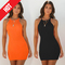 Women Summer Sexy Halter Mini Dress Party Bodycon Dress Striped Dresses m Orange