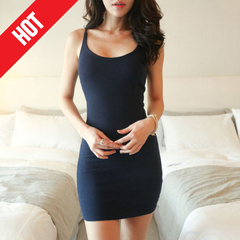 Women Stretchy Camisole Spaghetti Strap Long Tank Top Slip Mini Dress 4Color s navy blue