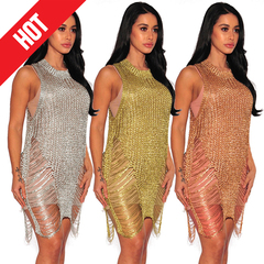 Women Golden Sexy Knitted Beach Dressses  Hollow Out See through Sleeveless  Streetwear Party Dress s gold
