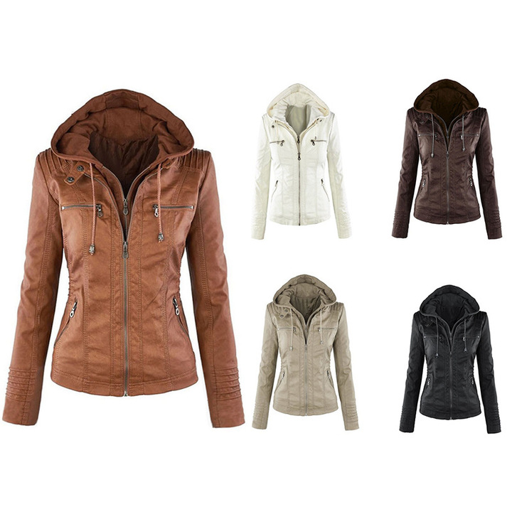 ZP Hot Women Leather Jackets Zipper Motorcycle Leather Coats Short Paragraph PU Jacket Plus Size khaki s