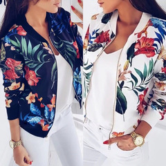 ZP Women Floral Jacket Retro Floral Printed Long Sleeve Zipper Bomber Short Jackets Autumn Coats white l