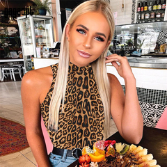 ZP Women Leopard Sexy Bodysuit Snake Bodysuit Sleeveless Stand Collar Party Jumpsuits Rompers leopard s