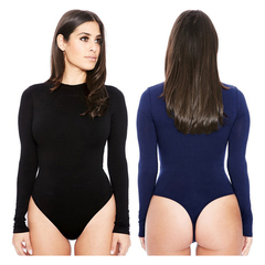 ZP Women Solid Bodysuits 12 Colors Summer Sexy Long Sleeve O-Neck Bodysuit Jumpsuit black l