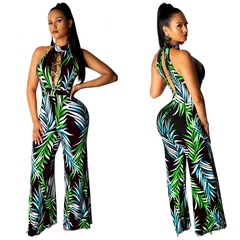 ZP 2019 Women Print Sexy Jumpsuits 5 Colors Sleeveless Hollow Out Bandage Long Pants Rompers black s