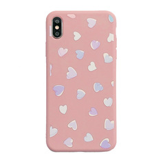 ZP Phone Case For iPhone7/ 7plus/ iPhone6/ 6plus/ iPhone X/ XS/ XR/ XR MAX Heart Pattern Softy Case pink for iphone 6/6s