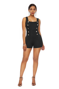 ZP Women Sexy Jumpsuits Summer Overalls Double Breasted Sleeveless Tank Playsuits Solid Female Short black s