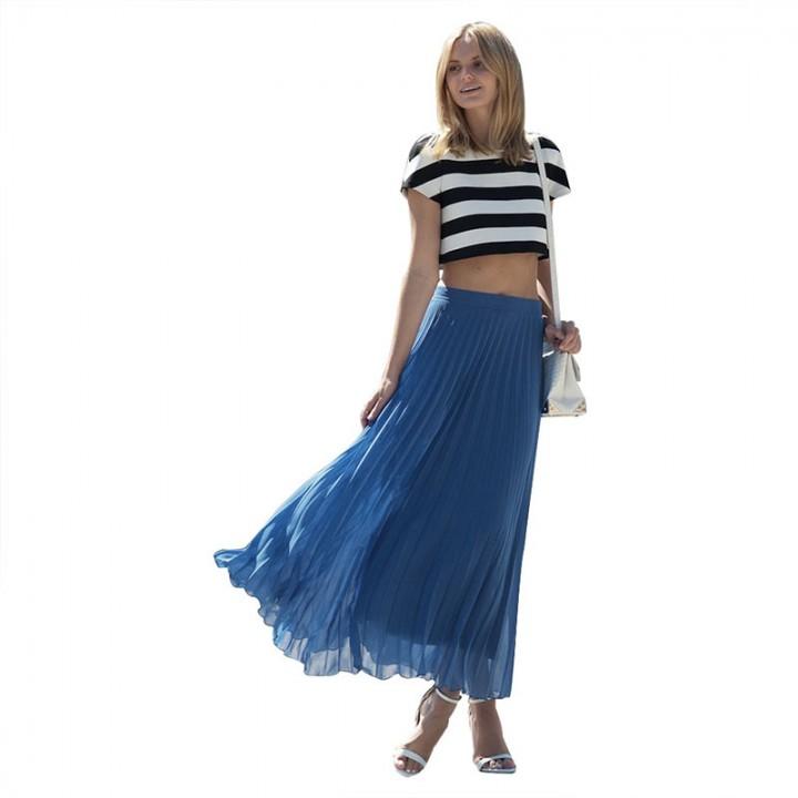 Fashion  Woman Silm Waist  Skirt Blue S