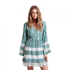 Sexy Printing Dress Woman V neck and Lace Sitching Design Loose Dress as the picture XL