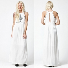 New Arrival Sexy Off The Shoulder Design Woman Sleeveless Elegant Dress white XL