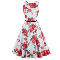 Floral Print Round Neck Sleeveless High Waist Belted Flare A-Line Dress As the Picture 3XL