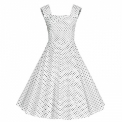 Retro Style Square-cut Collar Dress Woman Elegant Big Hem Sleevless Dress White 2XL