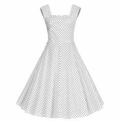 Retro Style Square-cut Collar Dress Woman Elegant Big Hem Sleevless Dress White 2XL