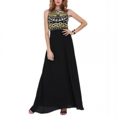 Stylish Round Neck Sleeveless Geometric Print Black Chiffon Women Maxi Dress as the picture S