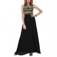 Stylish Round Neck Sleeveless Geometric Print Black Chiffon Women Maxi Dress as the picture S