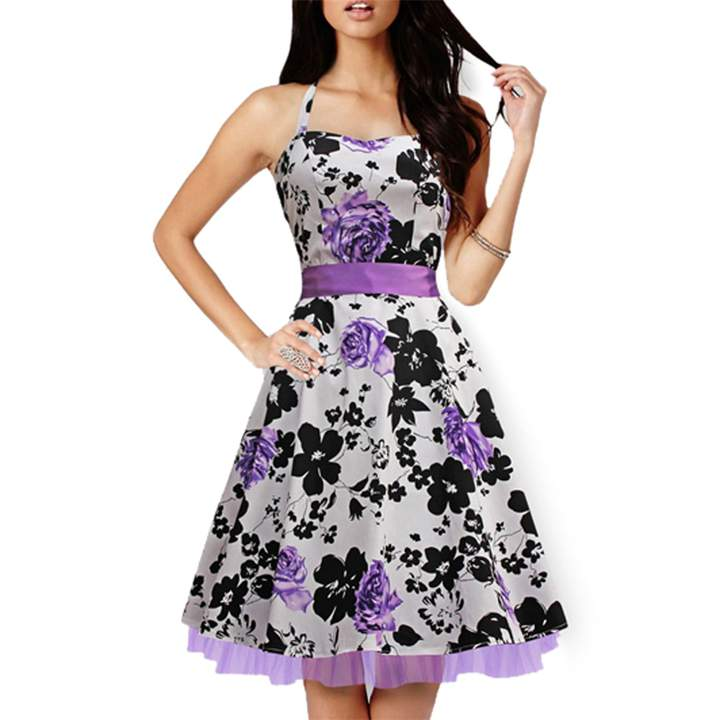 Retro Style Print Square-cut Collar Dress Woman Elegant Big Hem Condole Belt Dress Light Purple xl