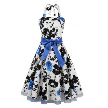 Retro Style Print Square-cut Collar Dress Woman Elegant Big Hem Condole Belt Dress Light Blue 2xl