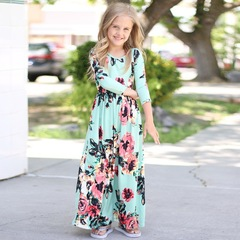 girl summer printed flower beautiful baby kids long dress green 140cm