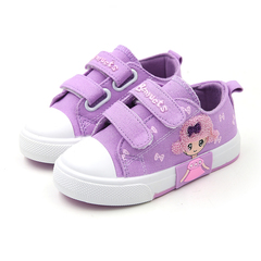 2019 baby girls soft bottom canvas shoes cute cloth shoes purple+girl 30