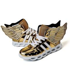 UNICRON Hot Sale New Children Kids Boys Girls Luminous Sneakers Running Shoes Led Light Up Shoes golden 30
