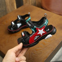 New style boy shoes color matching stars antiskid open-toed sandals black 27