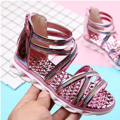 UNICRON The girl shoes bright long leather sandals antiskid leisure fashion pink 33
