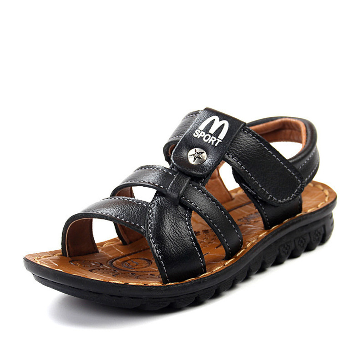 UNICRON 2019 boy baby shoes cowhide leather sandals big size black 27