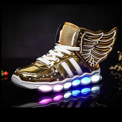 UNICRON Hot Sale New Children Kids Boys Luminous Sneakers Running Shoes Led Light Up Shoes golden 36
