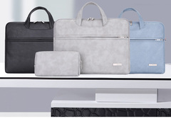Frosted leather and velvet briefcase with shock-proof notebook bag blue 15.6inch