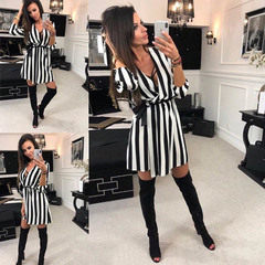 Tie V collar Elbow sleeve Black and white stripes Loose dress 2xl Black and white