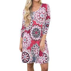 Fashion Ethnic Style Geometric Flower Patterns Three Quarter Sleeve A dress with a big pendulum 2xl 06