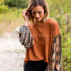 2019 autumn and winter Lantern sleeve printing Sleeve Chiffon splicing Loose sleeve Knitted cardigan orange m