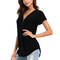 Women's T-shirt Short sleeve Zipper V collar Relaxation of leisure Comfortable and breathable black xl